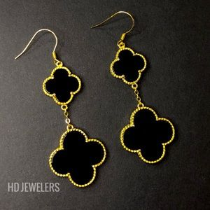 Black 925Silver Two Motif 18K Gold Dangle Earrings
